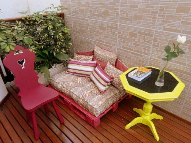 Futon Pallet Zen, Mesinha Shine e Cadeira Customizada